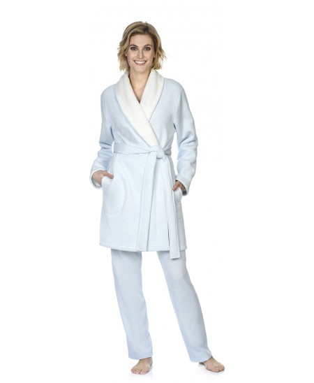 Sky blue melange dressing gown with sherpa fabric inside