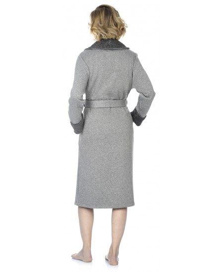 Grey melange knitted dressing gown
