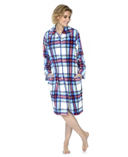 Checks print dressing gown