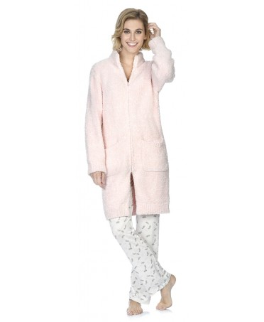 Knitted pink dressing gown with zipper