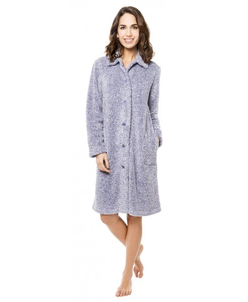 Navy and off white melange dressing gown