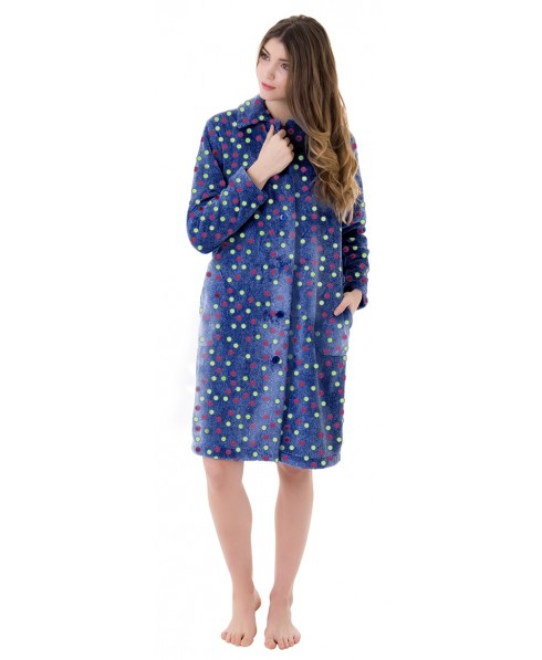 Dots print dressing gown