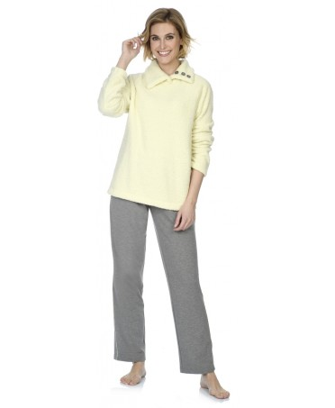 Yellow knitted top and grey melange pant with satin adornment