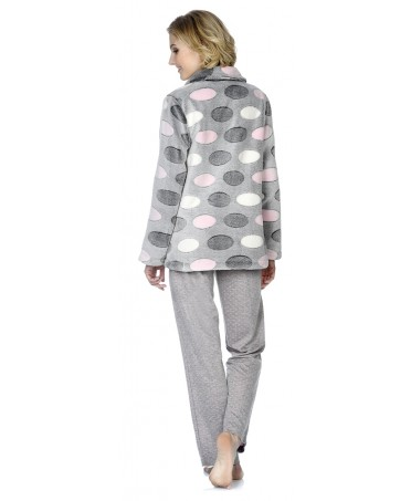 Oval print  short dressing gown and Heart embroidery pyjama with  grey melange and pink dots pants