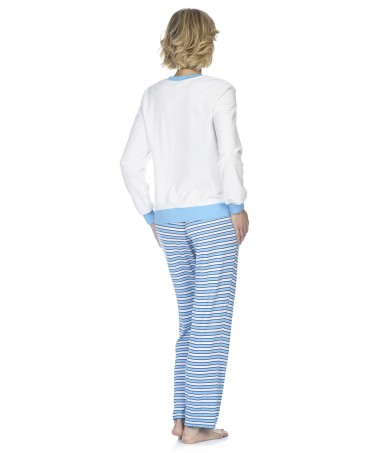 Off white velvet with embroidery top and stripes pants pyjama set