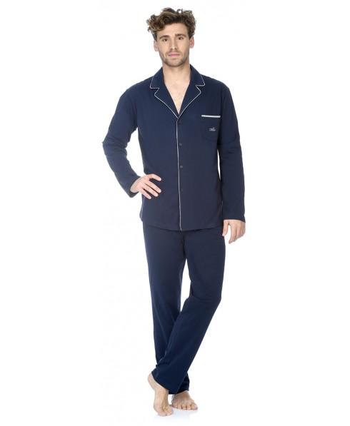 Navy pyjama set with piping adornment