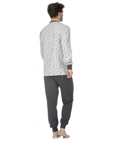 Stars print top and dark grey melange pants pyjama set