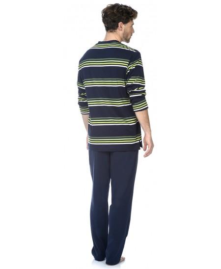 Pijama largo de hombre Lohe cuello pico rayas