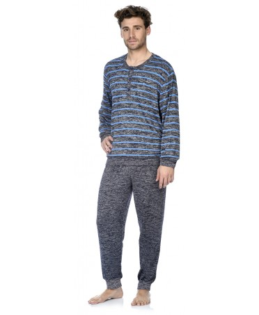 Navy and blue melange stripes top and navy melange pant pyjama set