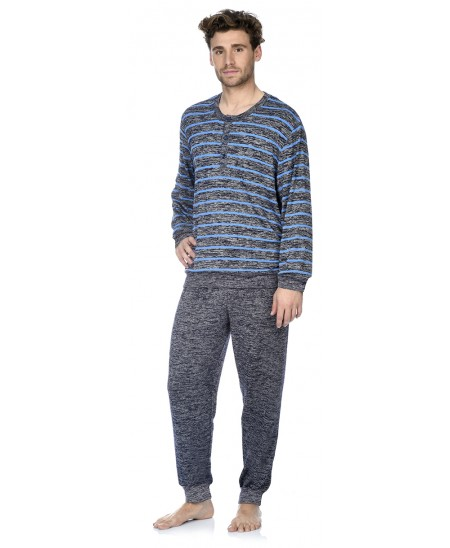 Navy and blue melange stripes top and navy melange pant pyjama set