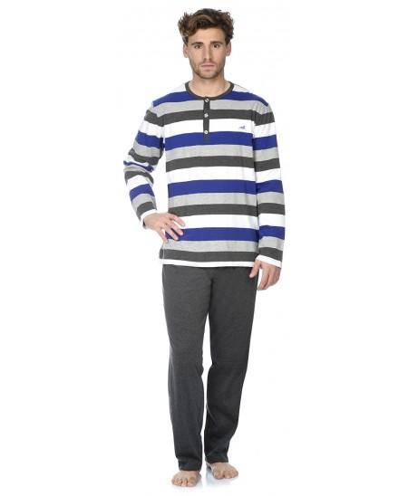Stripes print top and grey melange pant pyjama set