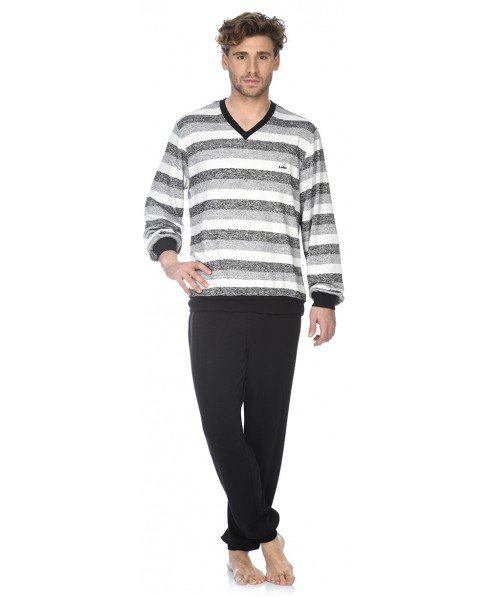 Grey stripes top and black pant pyjama set