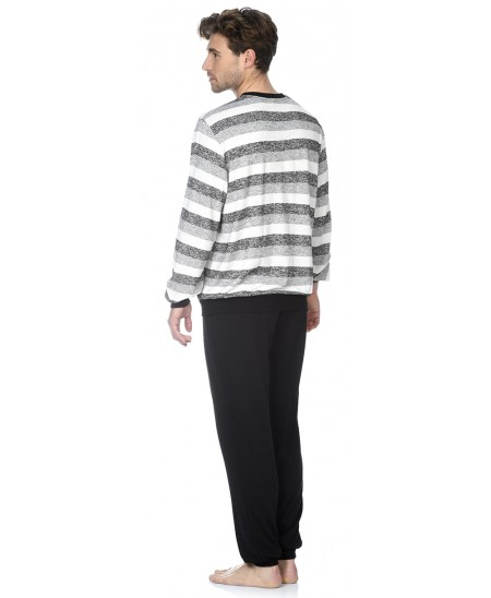 Grey stripes top and black pant pyjama set