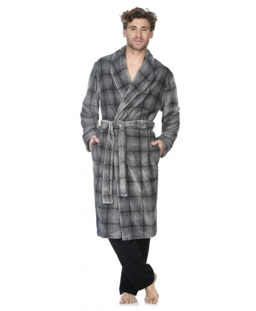 Grey Checks print dressing gown