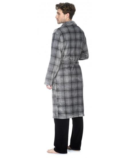 Grey Checks print dressing gown