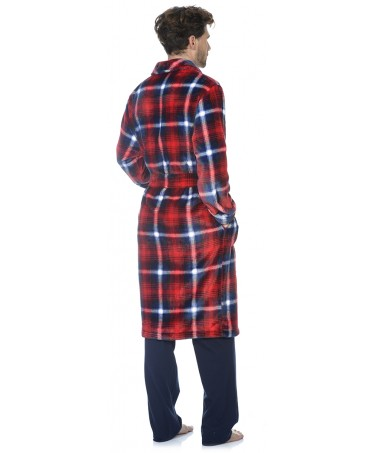 Red checks print dressing gown