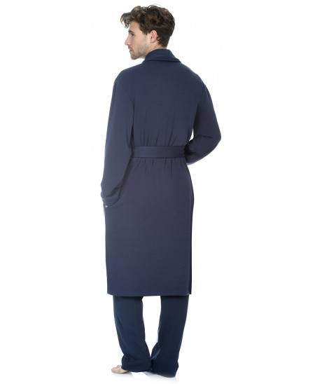 Navy knitted dressing gown