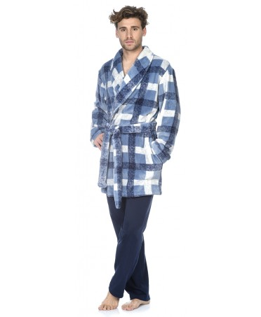 Checks print short dressing gown