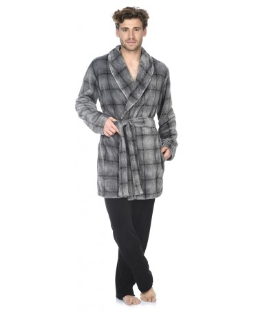 Grey Checks print short dressing gown