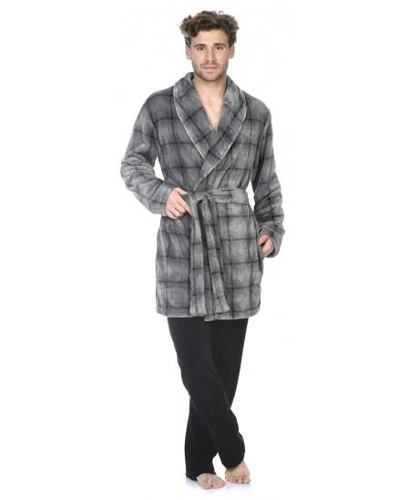 Grey Checks print short dressing gown