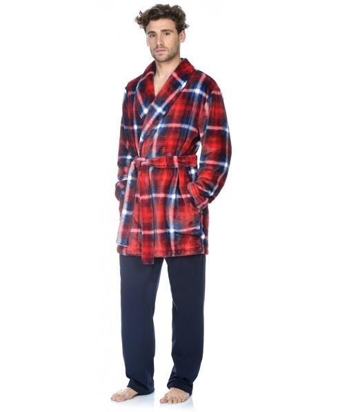 Red checks print short dressing gown