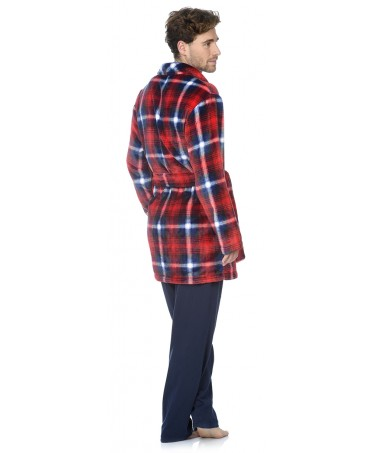 Red checks print short dressing gown