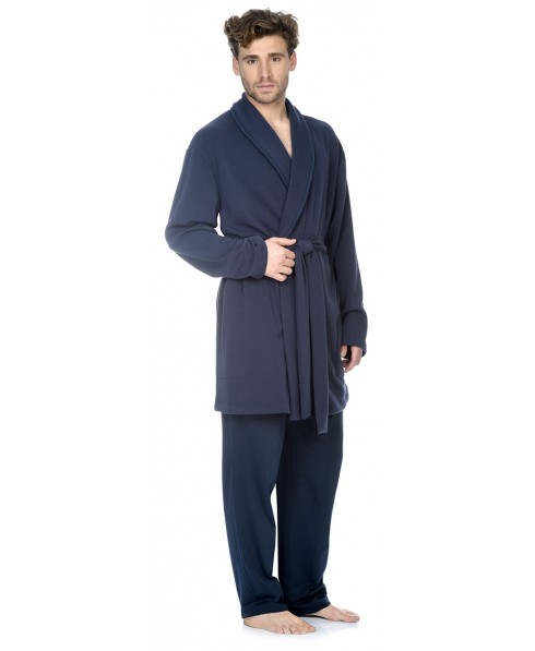Navy knitted short dressing gown