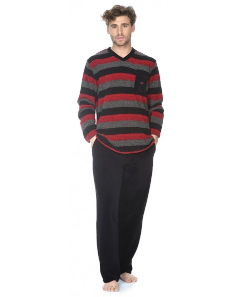 Stripes top and black velvet pant pyjama set