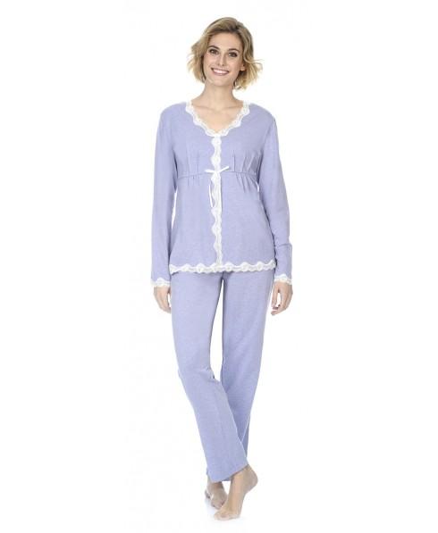Rib pyjama set  with lace