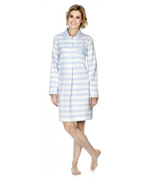 Sky blue&white stripes print nightdress