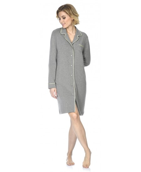 Grey melange nightdress with satin piping adornment