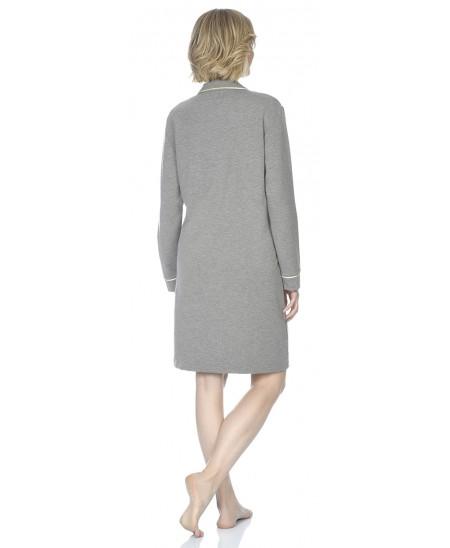 Grey melange nightdress with satin piping adornment