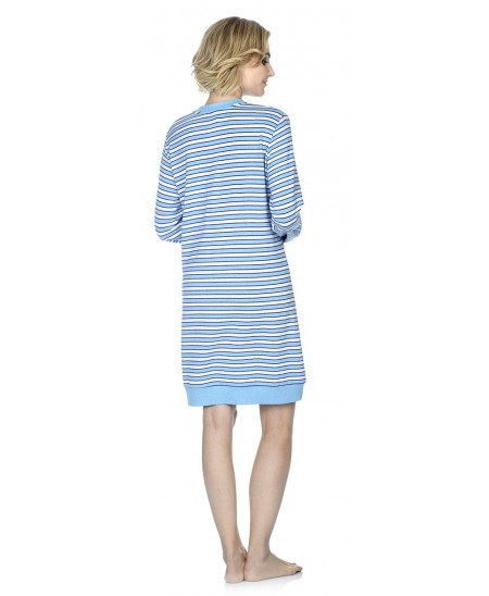 Turquoise stripes print nightdress