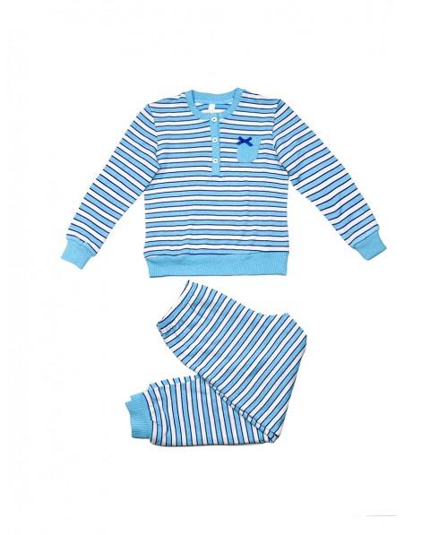 Pijama largo de niña Lohe Rayas con pata abotonada