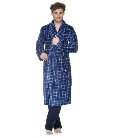 Navy Checks print dressing gown