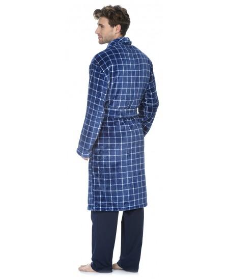 Navy Checks print dressing gown