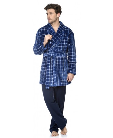 Navy Checks print short dressing gown