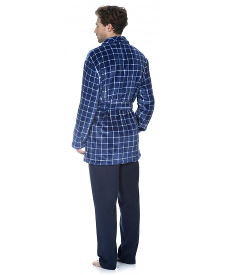 Navy Checks print short dressing gown