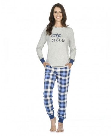 Grey melange with embroidery pyjama and blue checks print pants