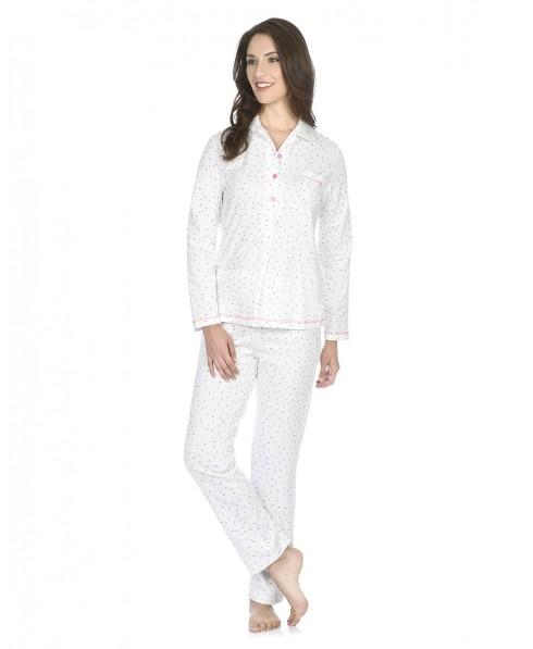 Pijama largo de mujer Lohe con pata abotonada topos colores