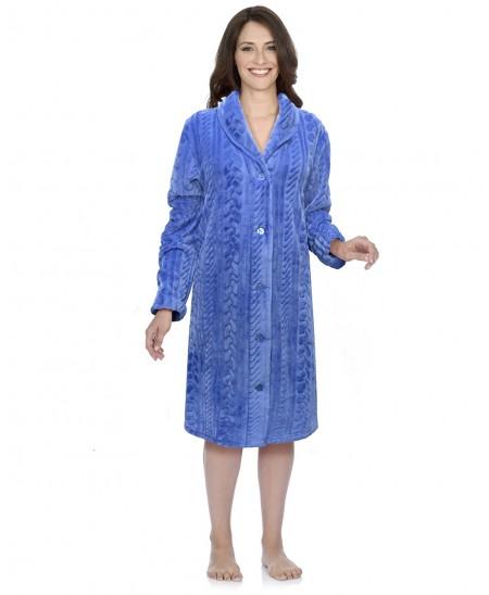 Blue braid jacquard dressing gown