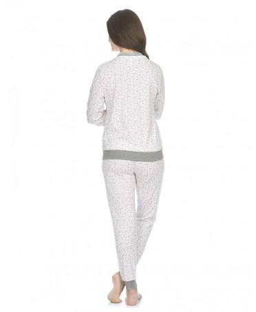 Pijama largo de mujer Lohe con pata abotonada estampado florecitas con elásticos