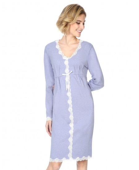 Rib nightdress   with lace