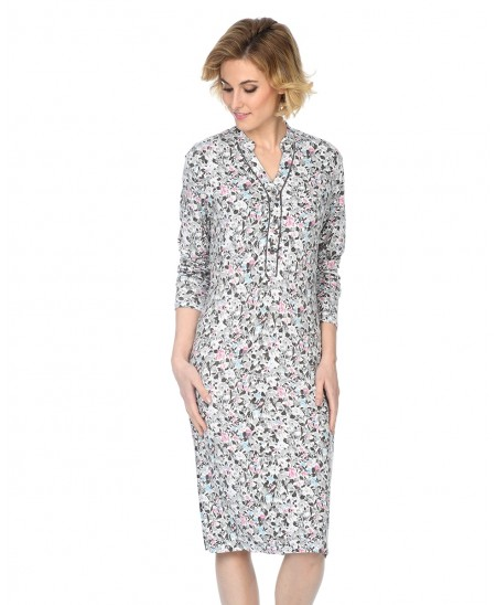 Flowers print nightdress with piping adornment