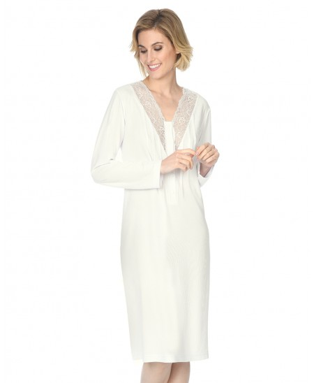 Classic nightdress with lace and  long sleeve