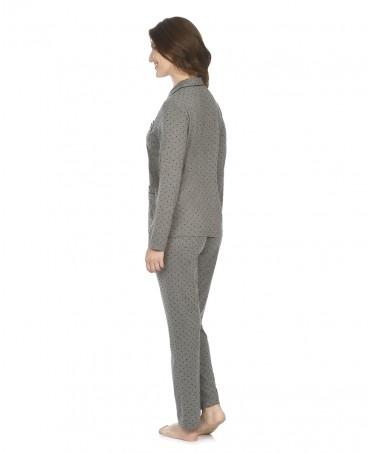 Pijama largo de mujer Lohe  Abierto Topos Terciopelo
