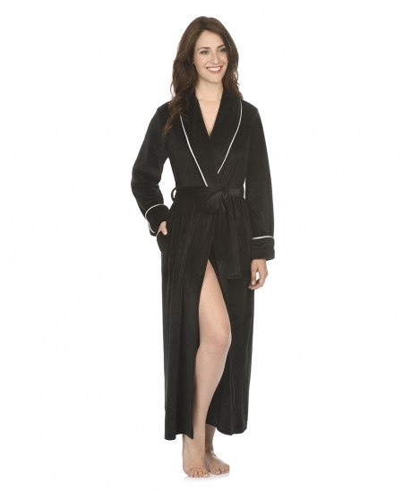 Velvet dressing gown with piping adornment