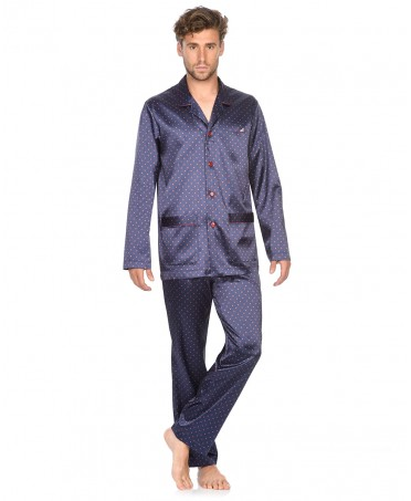 Printed satin  pyjama set with piping adornment