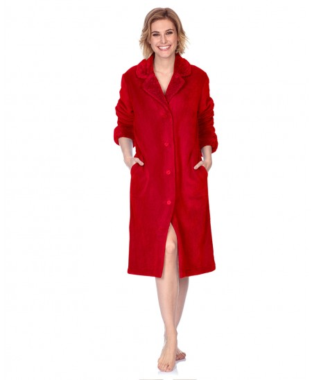 Buttoned classic dressing gown with jacquard in neck and cuff
