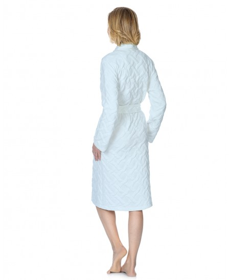 Buttoned classic dressing gown with piping adornment